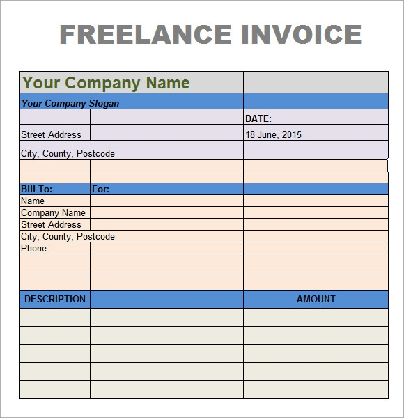 Writing an invoice for freelance work