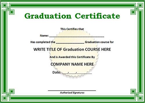 graduation certificate sample
