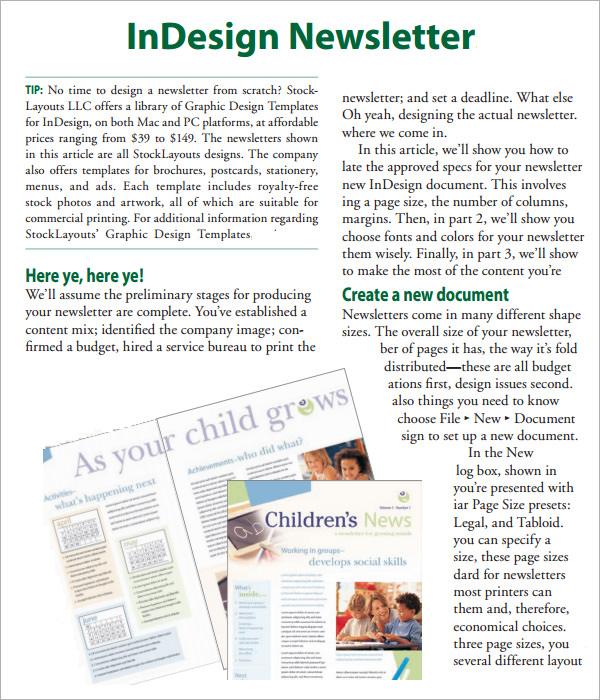 indesign newsletter pdf