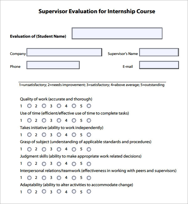 internship supervisor evaluation form