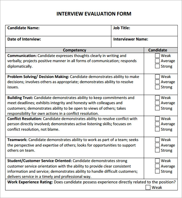 6 sample free interview evaluation templates to download for Interview templates for employers