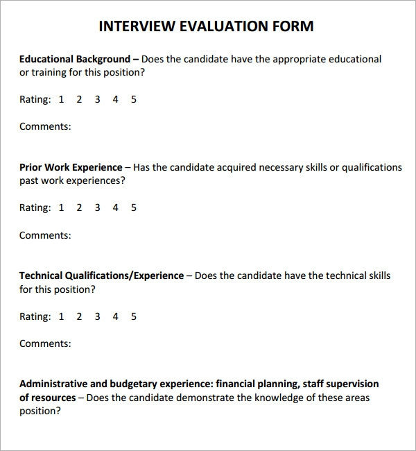 Interview Forms Template Job Interview Evaluation Form