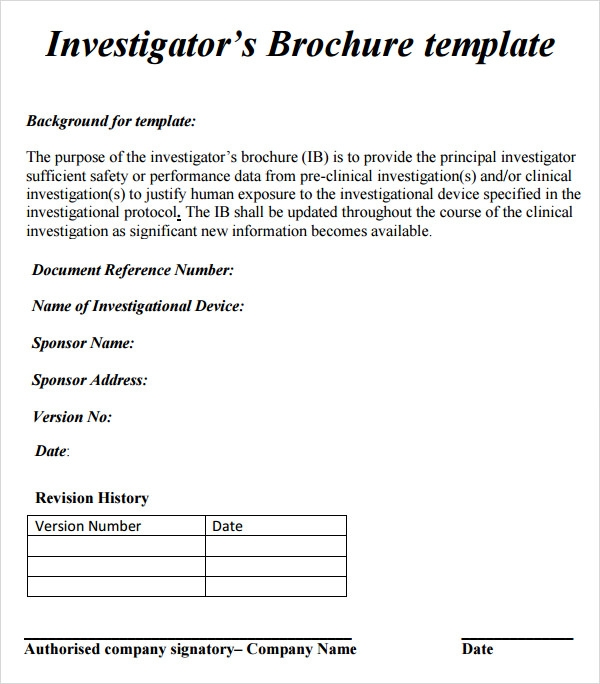 investigator brochure 7 free download for word ppt pdf With investigator brochure template