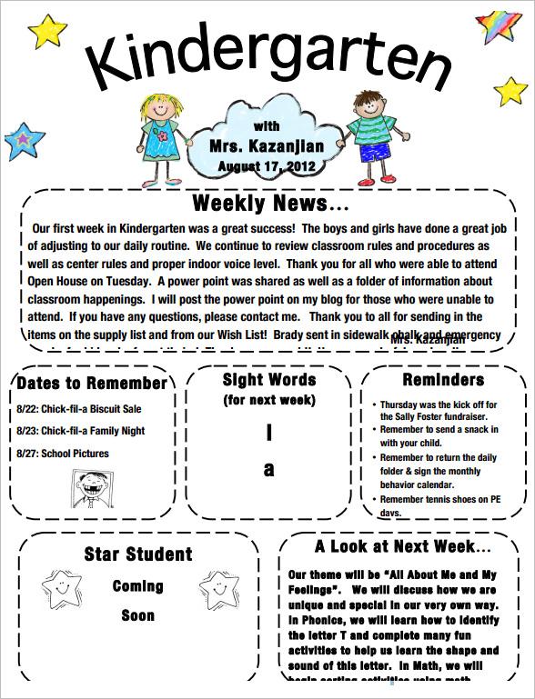 sample kindergarten newsletter template 15 free documents in word pdf. Black Bedroom Furniture Sets. Home Design Ideas