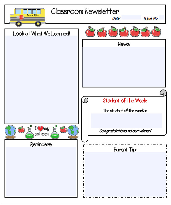 11 kindergarten newsletter templates free sample for Free editable newsletter templates for teachers