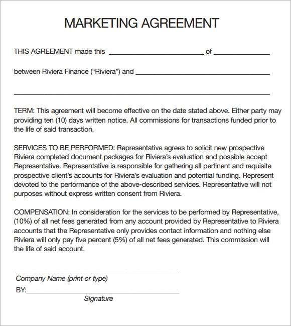 Marketing Agreement Template   Download Free Documents In Pdf