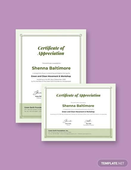 modern participation certificate