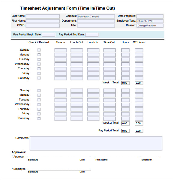 Excel Timesheet Templates 7 Free Download For Excel