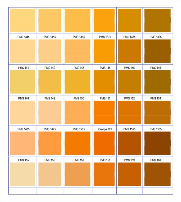 Pantone Color Chart Sample   Documents In Word Pdf