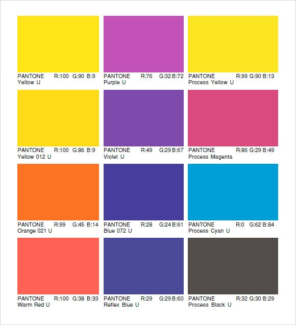 Pantone Color Chart Sample - 8+ Documents In Word, Pdf