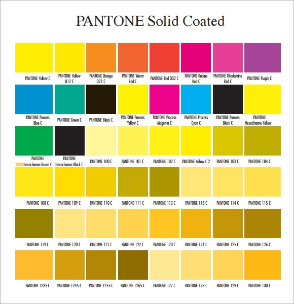 pantone color chart sample