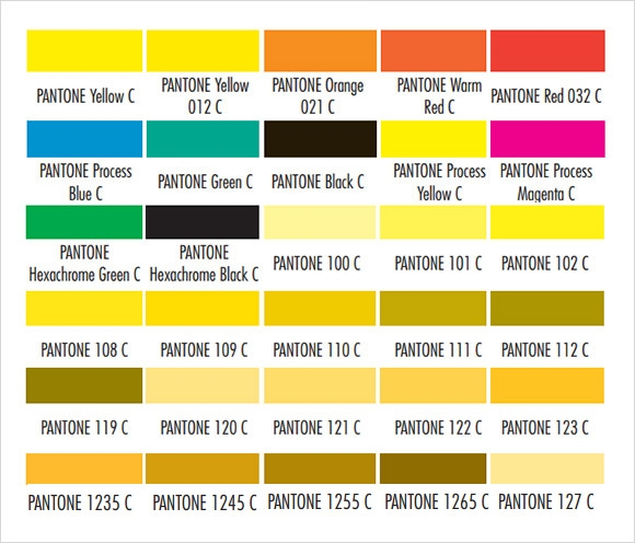 Pantone Color Chart 8 Free Download For Word Pdf