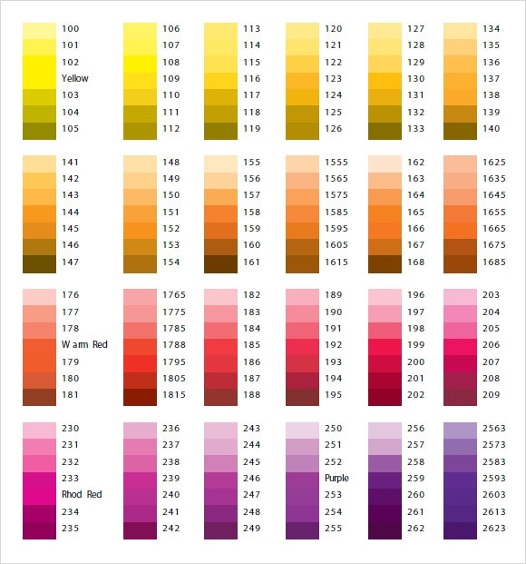 pantone paint color chart