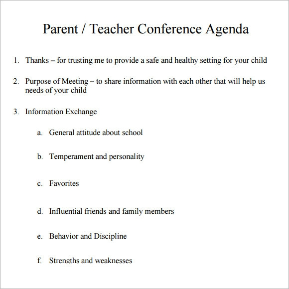 7 sample conference agenda templates to download sample for Parent teacher meeting report template