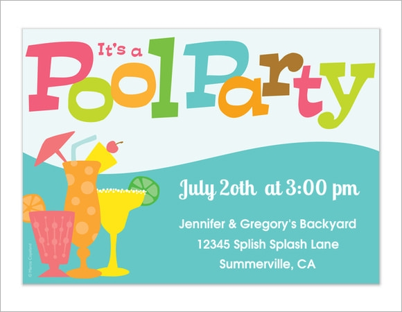 Pool Party Invitation Template 7 Premium Download – Pool Party Invite Template
