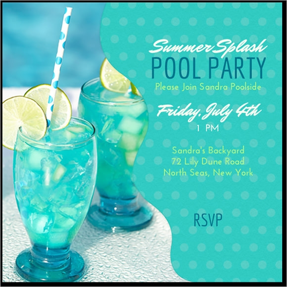 Pool Party Invitation Template Premium Download - Party invitation template: pool party invitations templates