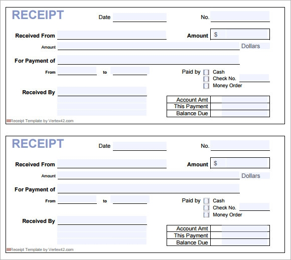 Sample Receipt Template 7 Free Download for PDF