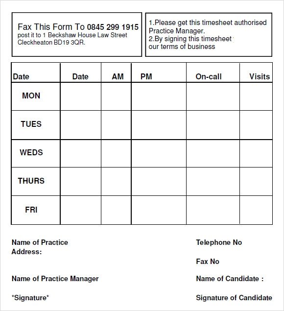 sample blank timesheet