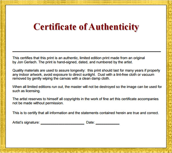 certificates of authenticity templates - sample certificate of authenticity template 9 free