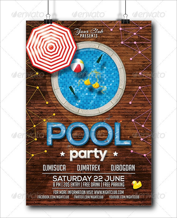 Pool Party Invitation Template Peellandfmtk - Birthday party invitation flyer template