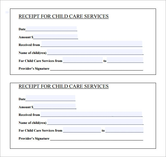 Printable Receipt For Care Services  Printable Cash Receipt Template
