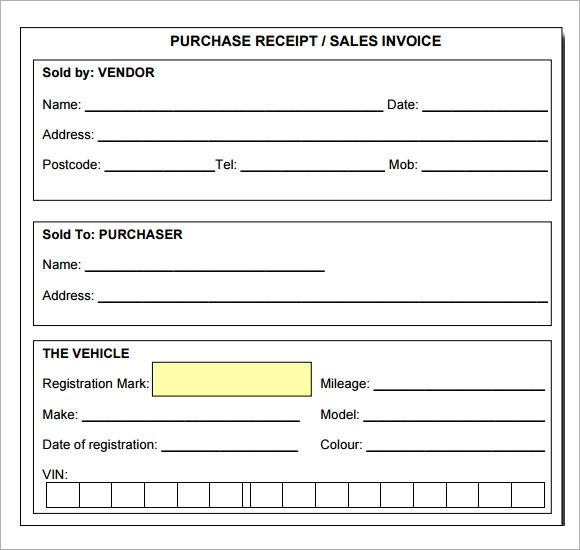 Sample Receipt Template 7 Free Download for PDF – Template Receipt