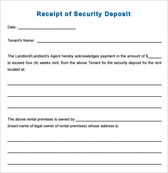 printable security deposit receipt template