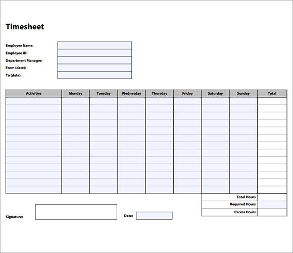 Employee Timesheet Sample Weekly Timesheet Template Free Documents