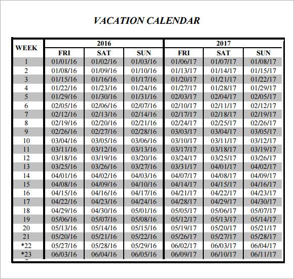 Sample Vacation Calendar - Resume Template Sample