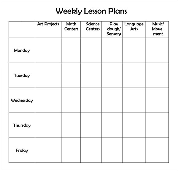 Sample Weekly Lesson Plan   Documents In Word Excel Pdf