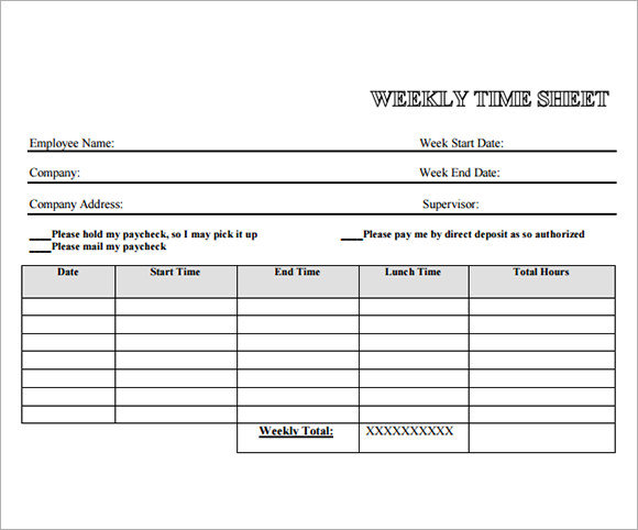 Employee Timesheet Sample 11 Documents in Word Excel PDF – Time Sheet Template