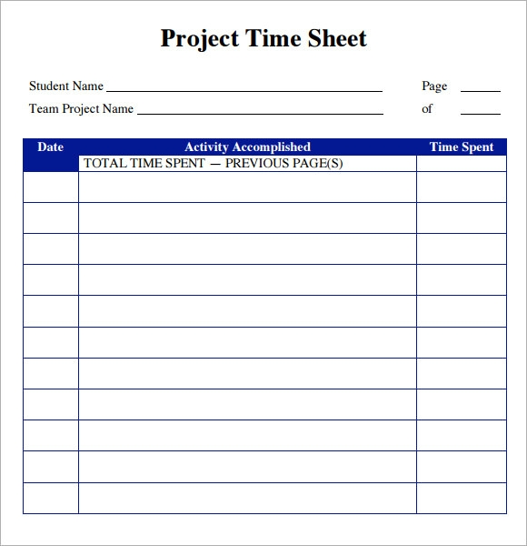 Sample Project Timesheet 6 Examples Format – Time Sheet Format