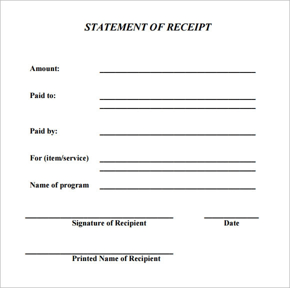 receipt statement template