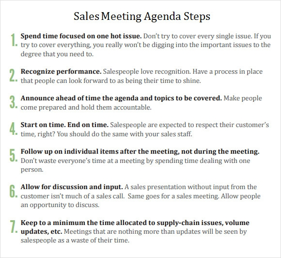 sales meeting agenda form