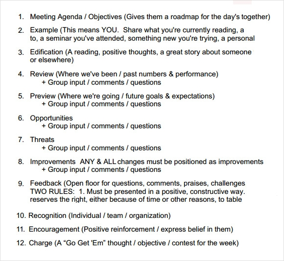 sales meeting agenda format