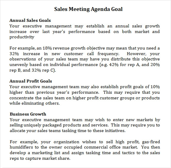 sales meeting agenda goal