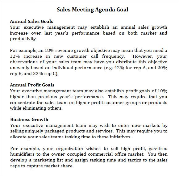 sales meeting agenda template – Sample Sales Meeting Agenda