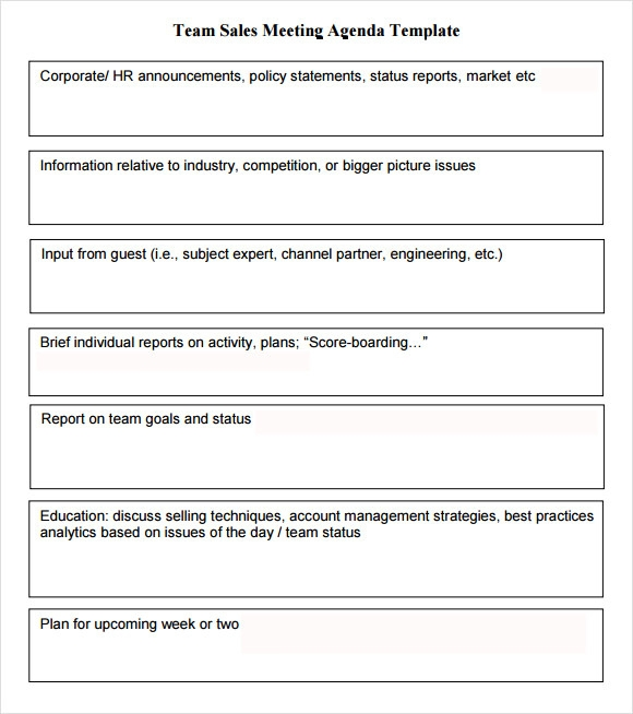 Sales Meeting Agenda Template Download