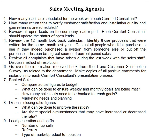 Sales Meeting Agenda 7 Free Download for PDF Word – Agenda Samples in Word