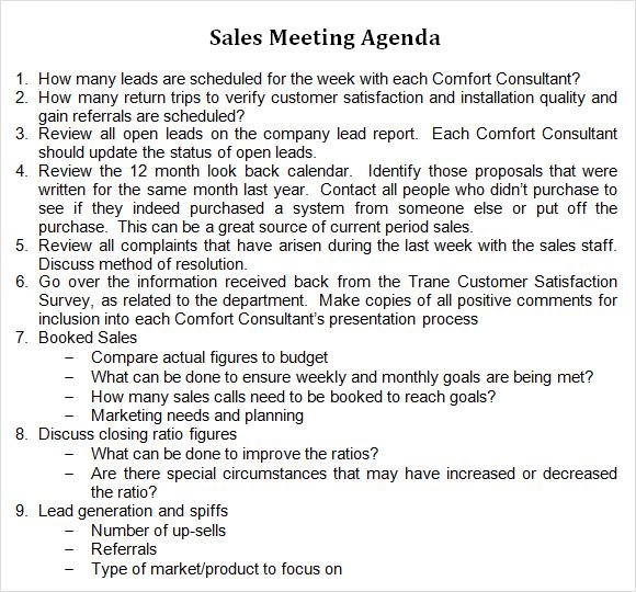 agenda format in word