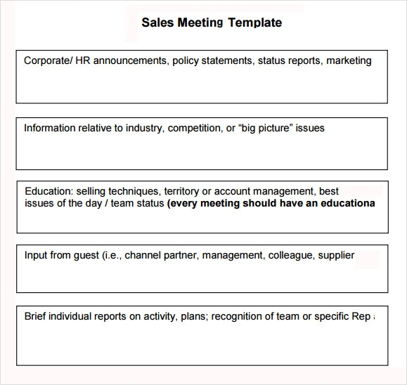 Sales Meeting Agenda 7 Free Download For Pdf Word