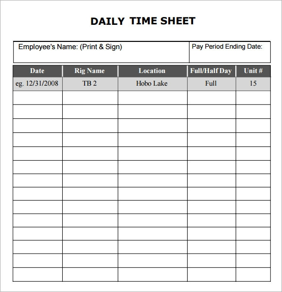 Daily Timesheet Template 9 Free Download for PDF Excel – Time Sheet Template