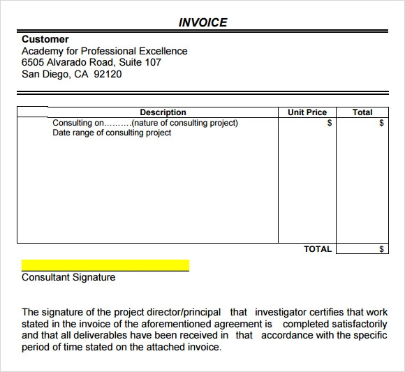 Sample Consulting Invoice Template  Invoice In Word