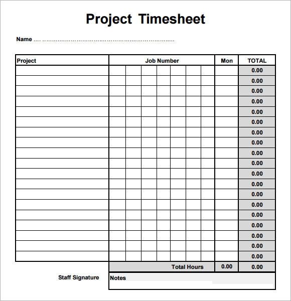 sample project timesheet