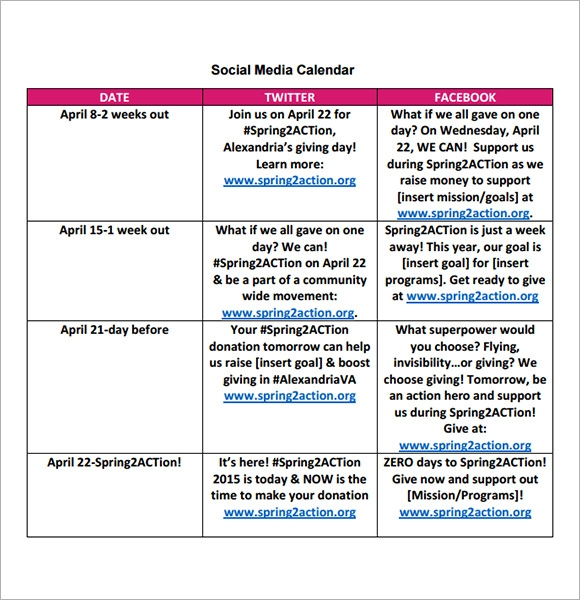 Social Media Calendar Template 7 Download Free Documents in PDF – Sample Social Media Calendar