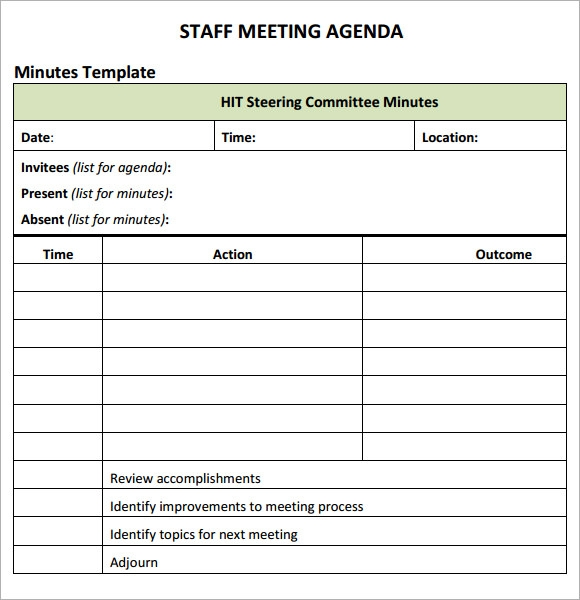 Staff meeting agenda 7 free download for pdf for Stand up meeting minutes template