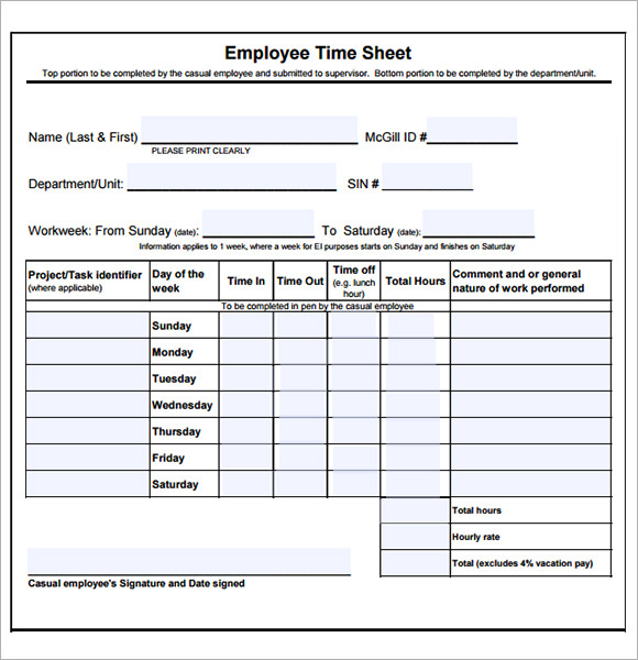 Employee Timesheet Sample - 11+ Documents In Word, Excel, Pdf