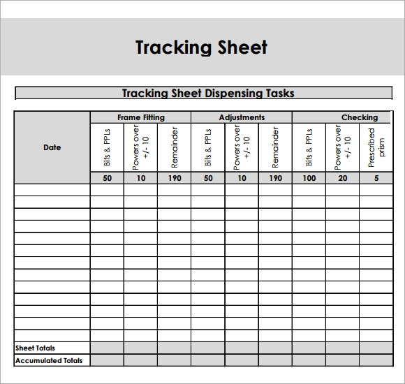 Sample Editable Tracking Sheet   Documents In Word Pdf