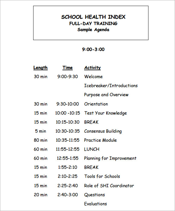 Training Agenda Sample   Documents In Pdf