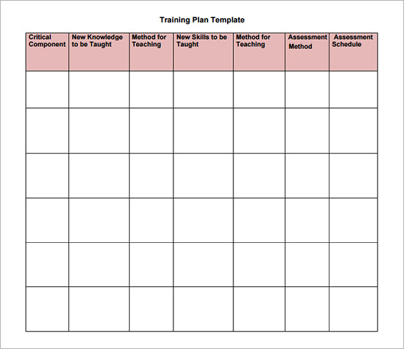 sample training plan templates